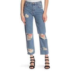 Current Elliott Original Straight Destroyed Jeans